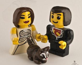 Lego Inspired Bride and Groom Wedding Cake Topper