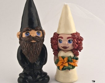 Gnome Bride and Groom Customizable Wedding Cake Topper