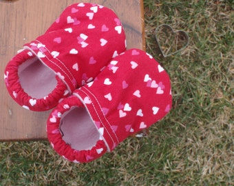Valentine's Day Baby Shoes for Girls - Red with Pink and White Hearts - Custom Sizes 0-24 months