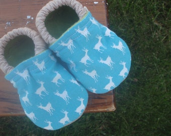 Baby Shoes for Boys - White Deer on Blue with Small Brown Stripe - Custom Sizes 0-3 3-6 6-12 12-18 18-24 months 2T 3T 4T