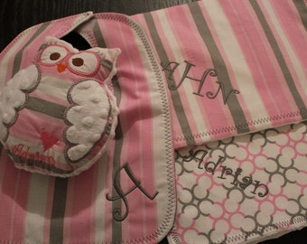Personalized Monogrammed Bib, Burp Cloth, Plush Owl Toy Bundle
