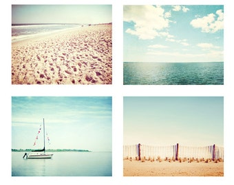 Beach Print Set of 4, coastal photography light blue aqua teal beige cream ocean sea shore nautical wall art, Four 8x10, 10x10 Photographs