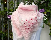 Pink Silk Scarf felted with silk flowers