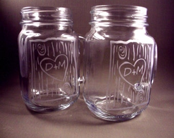 Personalized Etched Mason Jar Mugs - Set of 2 - Birch Tree with Your Initials - Wedding Glasses - Gift for the Couple - Mothers Day Gift