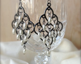Black and White Pearl Chandelier Earrings - Handmade Jewelry - Boho - Modern - Dangle Style Pearl Earrings