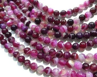 Striped Agate - 8mm Round - Pink Fuchsia - Full Strand - 48 beads