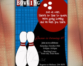 Bowling Birthday Invitations - Digital File You Print