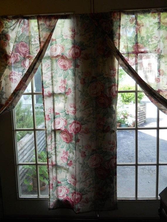 ... Semi-Sheer Vintage Home Drapery Curtain Shabby Chic Cottage Curtains