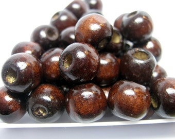 Dyed Coffee Wood Beads - 50pc