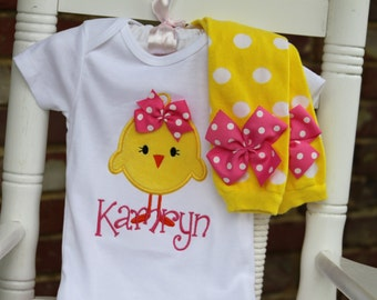 Baby Girl Easter Outfit -- Hot Pink Chickie -- hot pink and yellow personalized bodysuit and leg warmers -- fuzzy chick