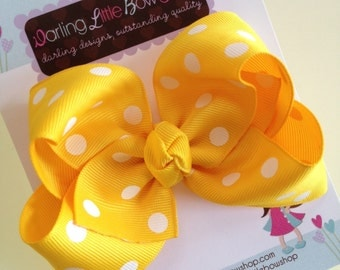 Yellow polka dot Bow -- yellow large boutique bow -- perfect for Spring and Easter -- yellow and white
