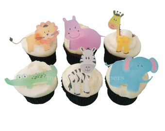 CUPCAKE TOPPERS - Edible Zoo Animals - 12 Cake Toppers, Birthday Cake, Kids Cakes, Baby Shower