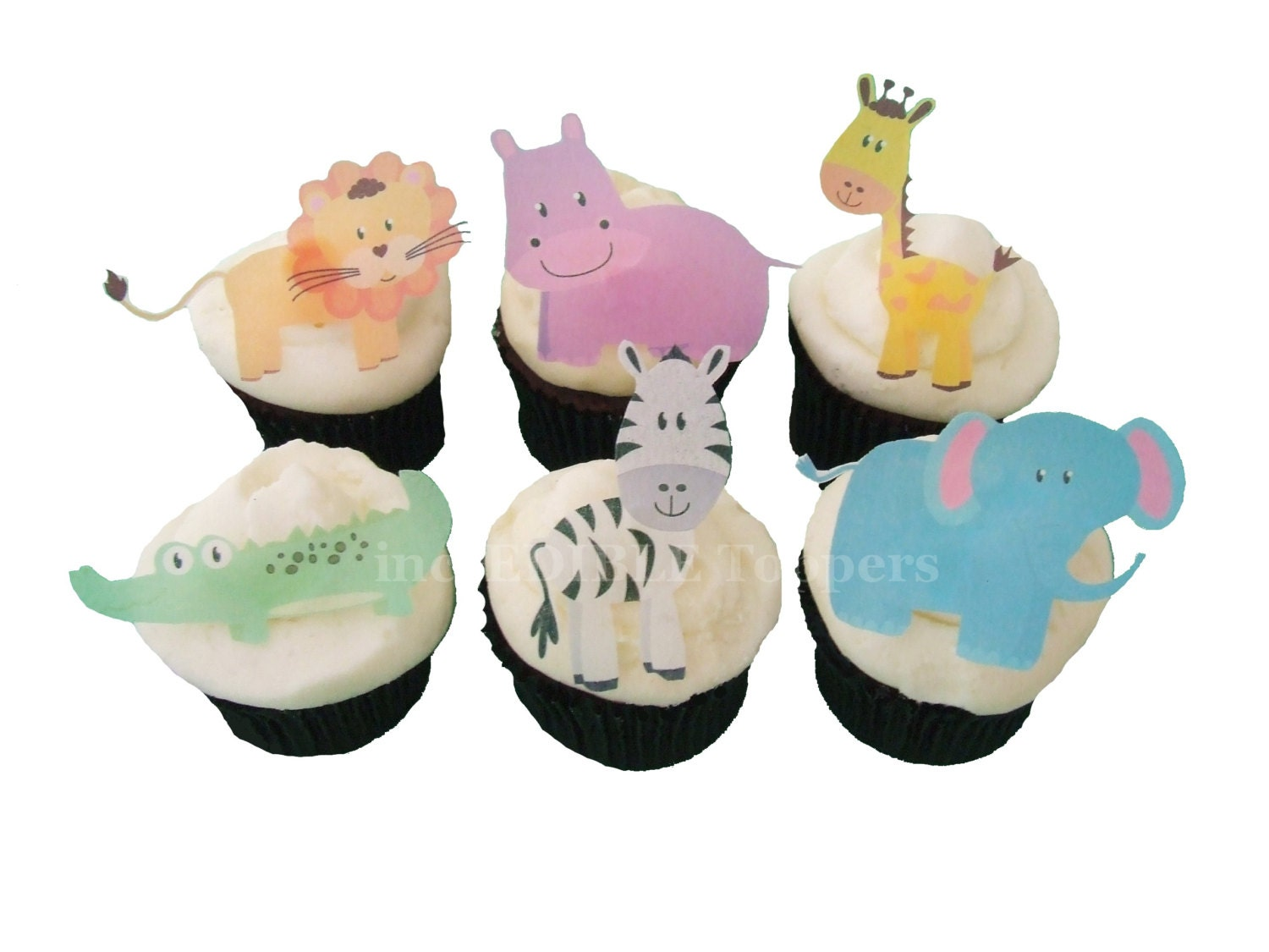 Cupcake toppers edible zoo animals 12 cake toppers for Animal cake decoration
