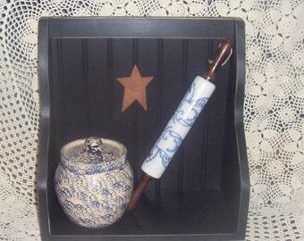 shabby chic cookbook shelf black  wooden shelf  primitive rusty star beadboard shelf