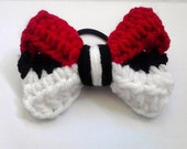 Original Pokebow Pokeball Inspired Bow with Hair Band Tie Ponytail Fangirl Handmade Crochet Knit Girl Kid Child Adult