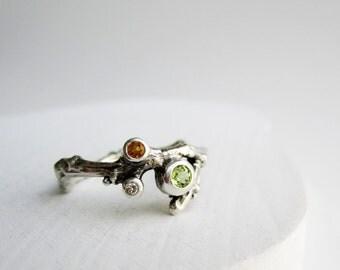 Diamond, Peridot and Citrine, 3 Stones Silver Twig Ring