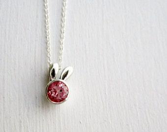 Pink Bunny Necklace, Light Pink Topaz and Sterling Silver