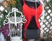 Vintage lingerie corset red garter bustier
