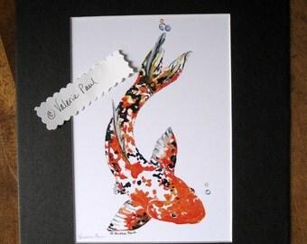 8x10 Koi Fish Watercolor Print