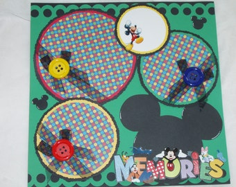 Disney Mickey Minnie Mouse Memories 12x12 Premade Scrapbook Page by KARI