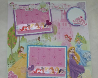 Disney Princess Cinderella Belle Rapunzel Ariel Tiana 12x12 Premade Scrapbook Page by KARI