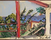View from my studio, 2011 - original plein air landscape painting, egg tempera and ink on paper,  25X35 cm ; 9.8X13.8 inch, Shirley Kanyon