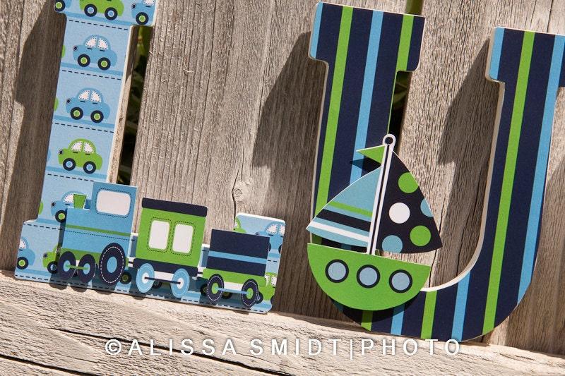 Custom Nursery Wooden Letters Baby Nursery Transportation