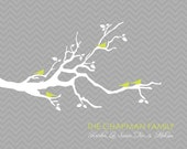 Chevron Customized Family Tree - 8x10 Digital file - print at home