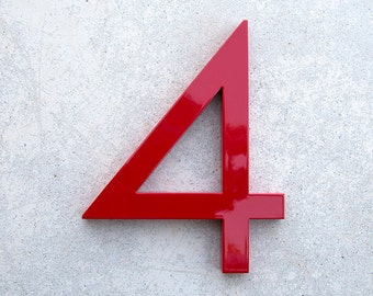 Modern House Number Aluminum Modern Font Number FOUR  4 in RED
