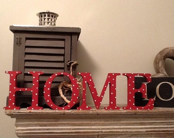 Wooden Letters - HOME - Georgia Font - 15cm high - various colours and finishes available, painted, standing