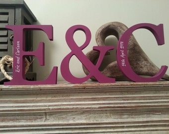 Wooden Wedding Letters, Photo Props -15cm - Set of 3, Free-standing, Personalised - various finishes and colours