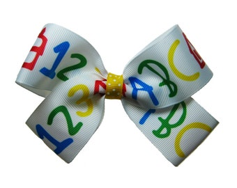Large Back to School ABC 123 Hair Bow