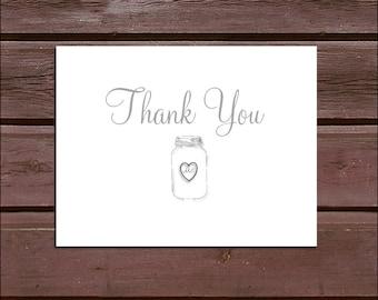 75 Mason Jar  Wedding Thank You Notes