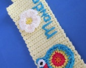 Hand Crochet Coffee Cup Sleeve with Big Eyes Owl and Flower. Great gift for a someone special. Valentines Day, Father's Day Gift.