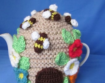 Handmade 3 Cup Crochet Tea Pot Cozy with Flowers and Bees.  Great gift for a someone special. Valentines Day Gift. Gift for Mom.