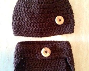 Crochet Baby Bear Beanie & Diaper Cover set (Newborn, 3-6 month , and 6-12 months) - knit, hat, boy, girl, photo, flower, prop