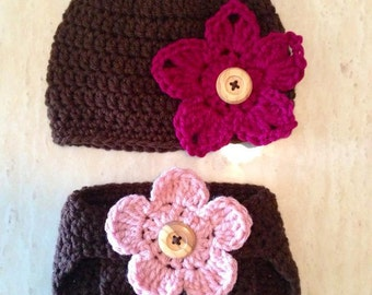 Crochet Baby Bear Beanie & Diaper Cover set with 3 Interchangeable Flowers (Newborn, 3-6 months, 6-12 months sizes) - knit, hat, baby, photo