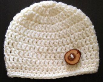 Crochet Beanie with Button (Newborn, 3-6 month, & 6-12 month sizes)