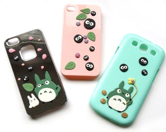 Unique iPhone 5 / iPhone 6 Case - Totoro and soots / Calcifer / Kodama - Made to Order