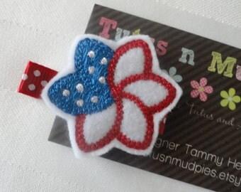 Felt Clippie  Flower Red White Blue - Hair Clip
