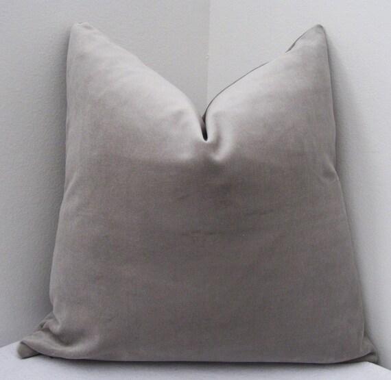"""Silver Grey Cotton Velvet Pillow Cover 18""""x18"""" - Decorative Pillow Cover - Invivisible Zipper"""