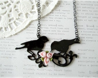 ON SALE  Large Black Enamel Birds with Pink Flower Necklace