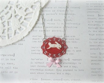 ON SALE  MOP Bunny in Red Frame Necklace