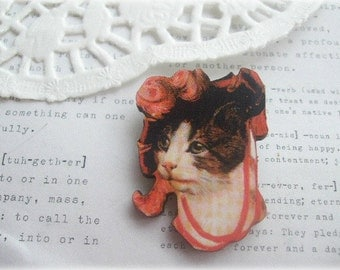 Fancy Cat with Red Hat Brooch