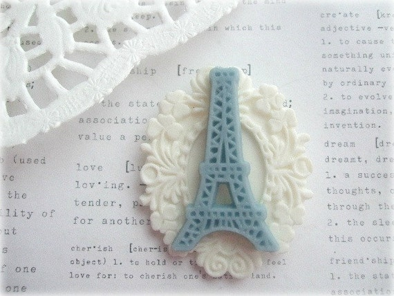 White and Blue Eiffel Tower Brooch