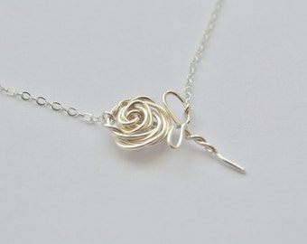Clearance Sale- Silver Wire Rose Flower Necklace Silver on 18 inch chain