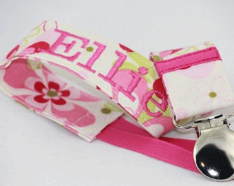 Personalized Pacifier Clip, baby pacifier clip, baby shower gift idea/ baby girl pacifier clip, pink pacifier clip
