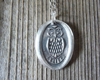 Owl wax seal necklace hand stamped from recycled reclaimed fine silver custom made to order