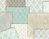 Damask papers Light blue  Digital  12 x 12 sheets  Decoupage texture, Commercial Use,  10 scrapbooking papers  to  INSTANT Download (31)