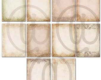 Printable beige old paper, background papers 8.5 x 11 in  , 10 scrapbook , commercial use,  Digital Collage Sheets   Download 35us